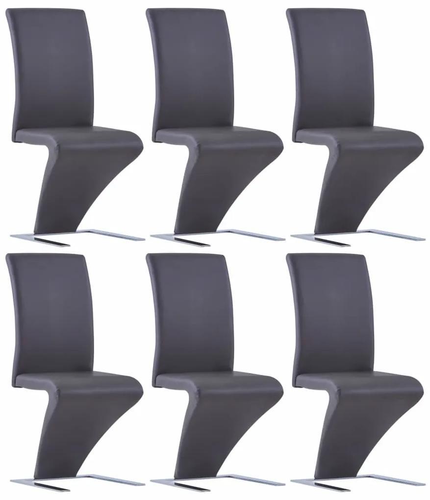 vidaXL Jedálenské stoličky, cikcakový tvar 6 ks, sivé, umelá koža