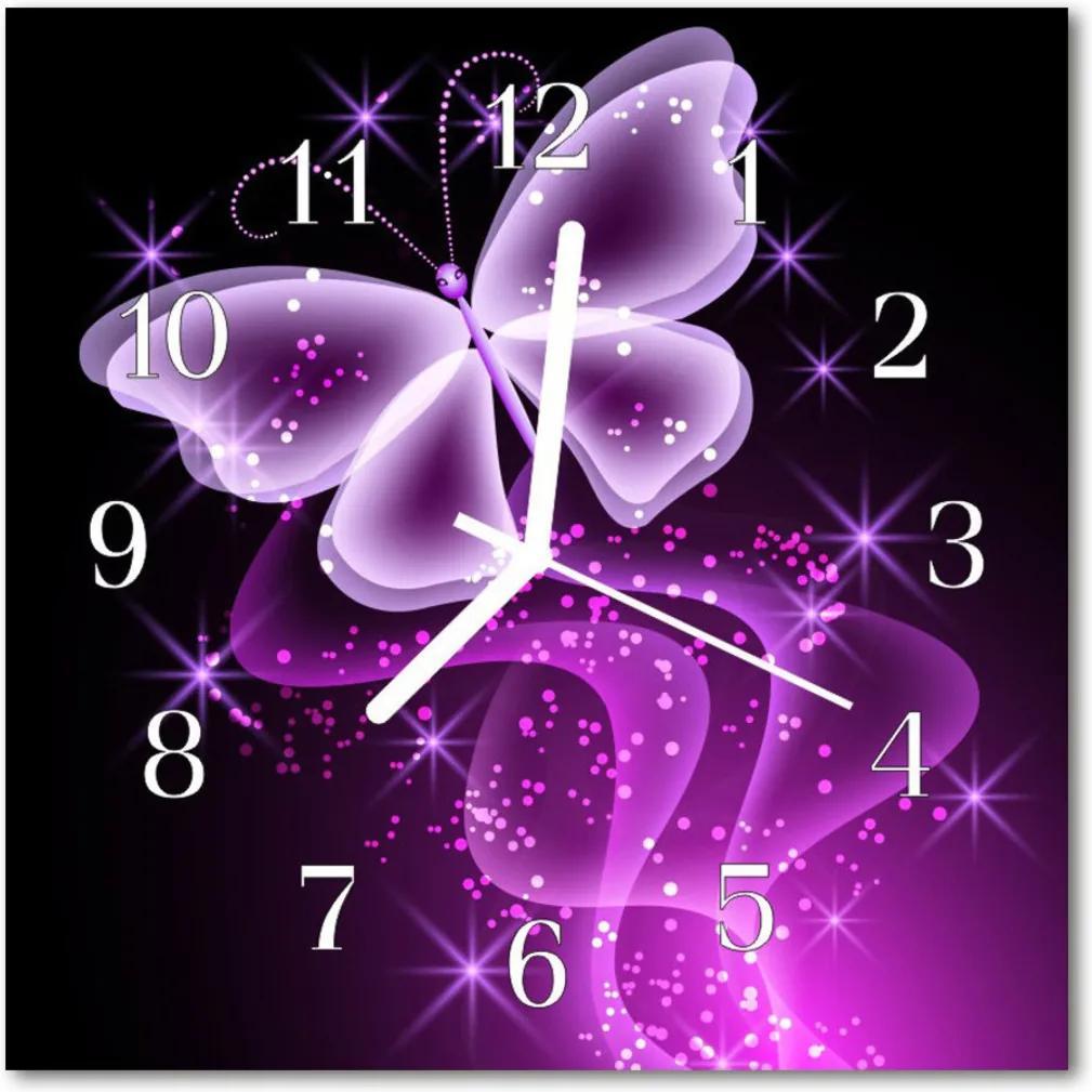 Nástenné skleněné hodiny motýl
