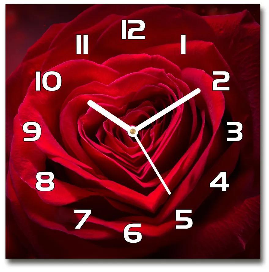 Sklenené hodiny štvorec Červená ruža srdce pl_zsk_30x30_f_75608886