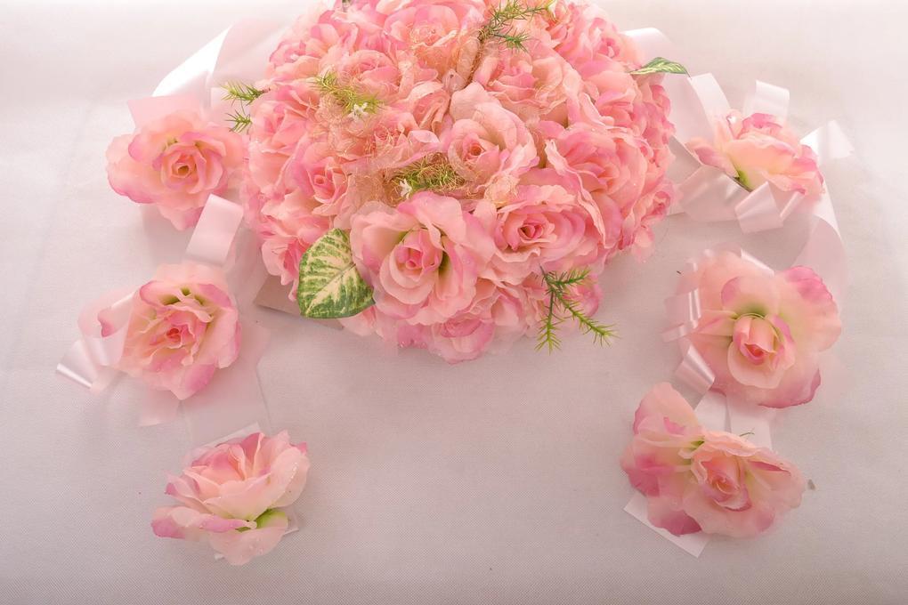 Svadobná dekorácia na auto - ružová (priemer 34 cm)