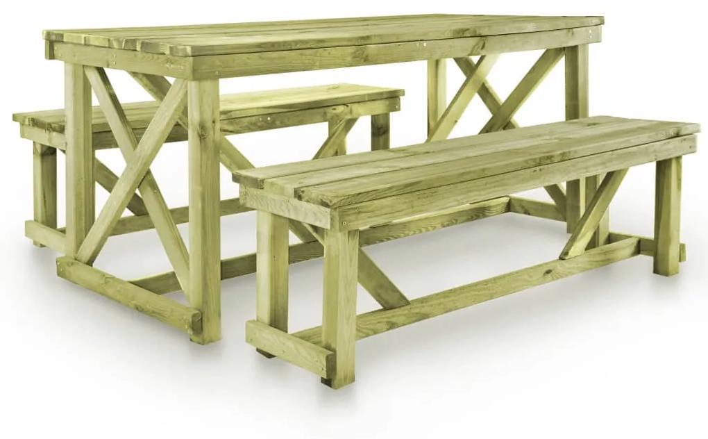 vidaXL Pivný stôl s 2 lavicami, drevo
