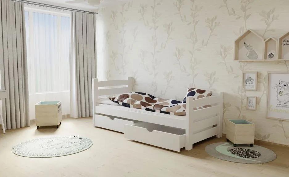 MAXMAX Detská posteľ z masívu 200x90cm so zásuvkou - M04