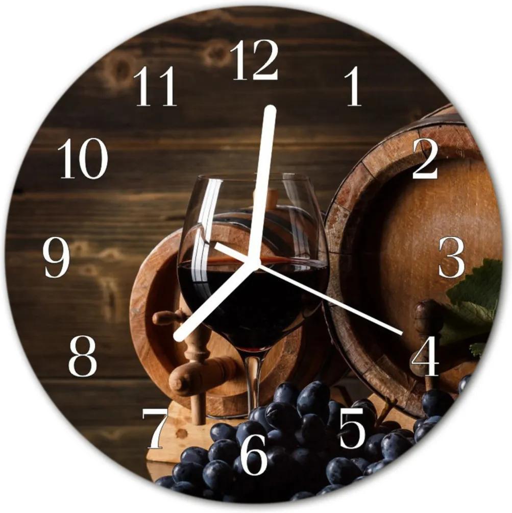 Nástenné skleněné hodiny Barva vína