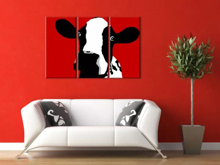 Ručne maľovaný POP Art obraz Cow 3 dielny cow