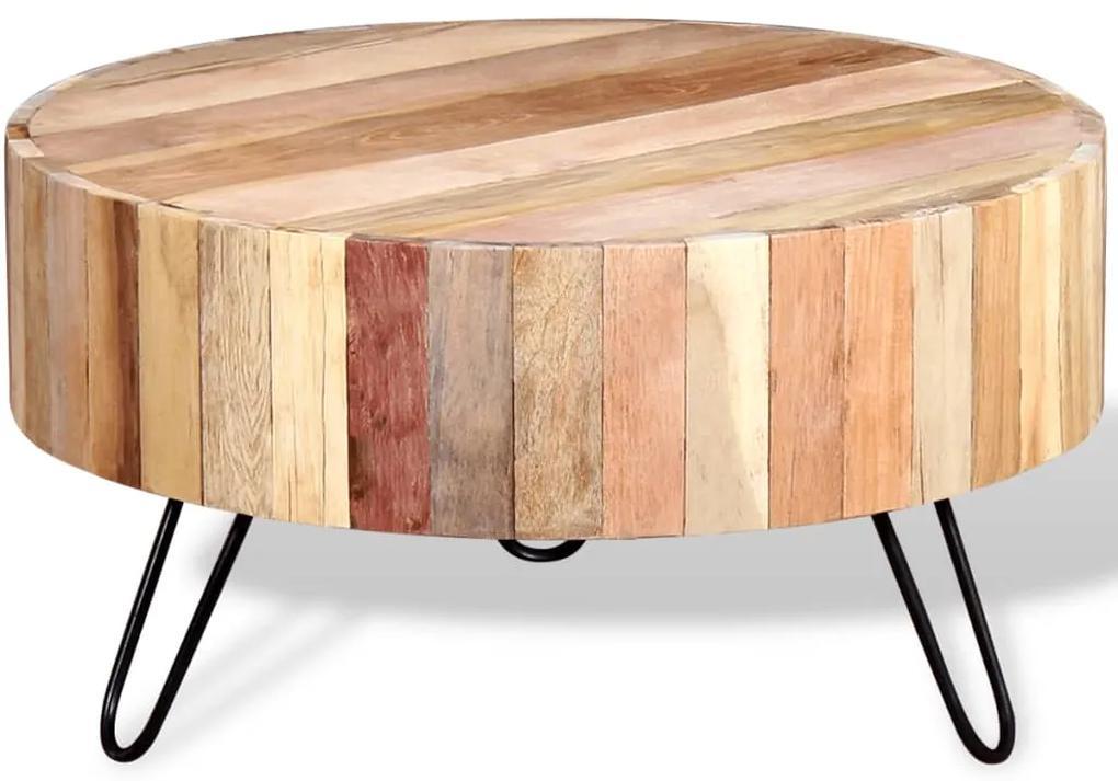 vidaXL Konferenčný stolík z masívneho regenerovaného dreva