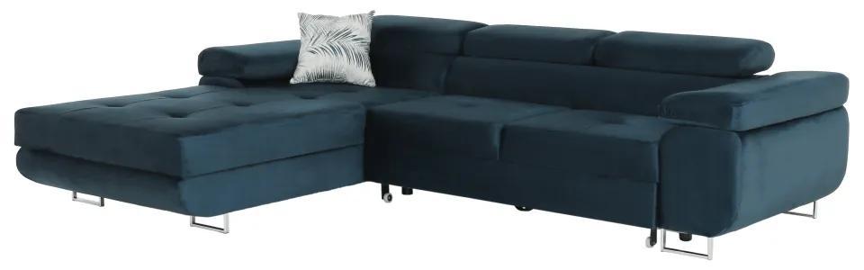 Rohová sedacia súprava, modrá, ľavá, AMARETA