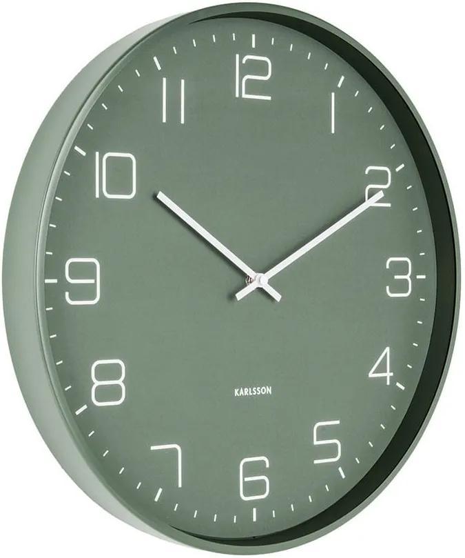 KARLSSON Nástenné hodiny Lofty Iron matná zelená - zl'ava 20% (VEMZUDNI20)