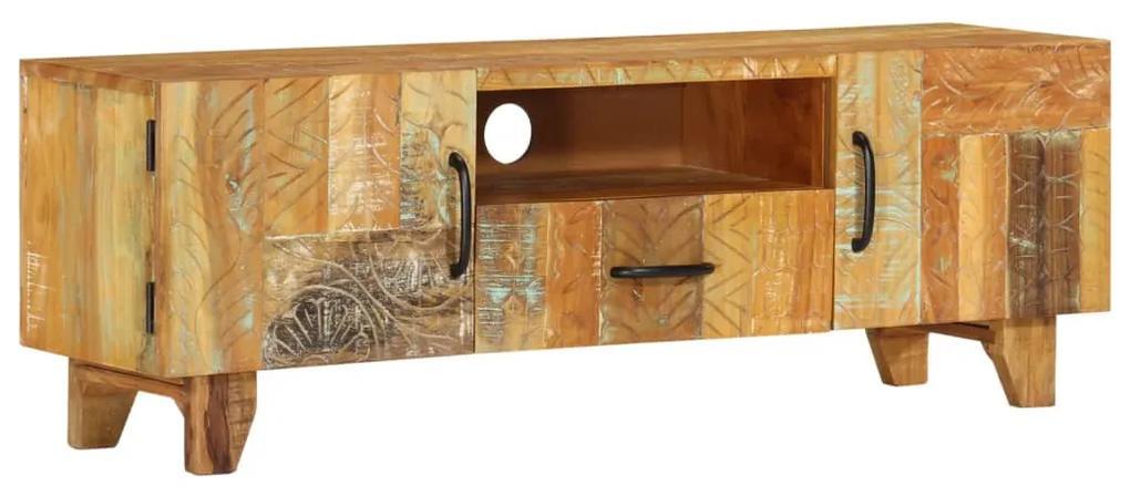 vidaXL Ručne vyrezávaná TV skrinka 120x30x40 cm masívne recyklované drevo
