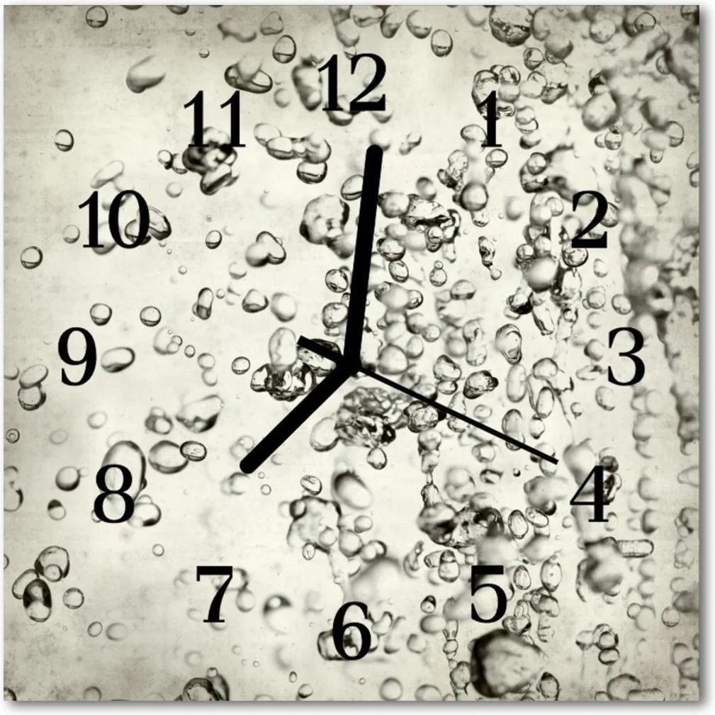 Nástenné skleněné hodiny kapky