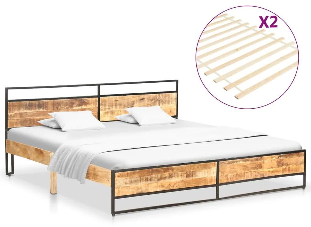 vidaXL Posteľný rám 200x200 cm masívne mangovníkové a borovicové drevo