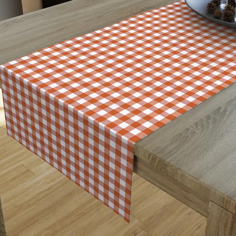 Goldea dekoračný behúň na stôl menorca - vzor oranžové a biele kocky 35x140 cm