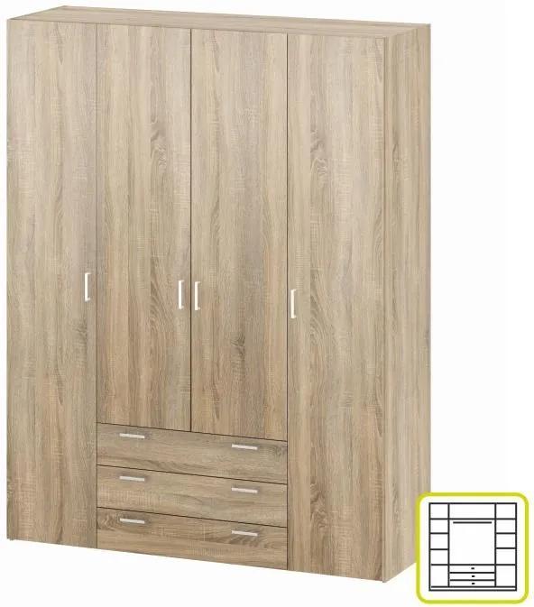 Skriňa, 4 - dverová, dub sonoma, GWEN 70429