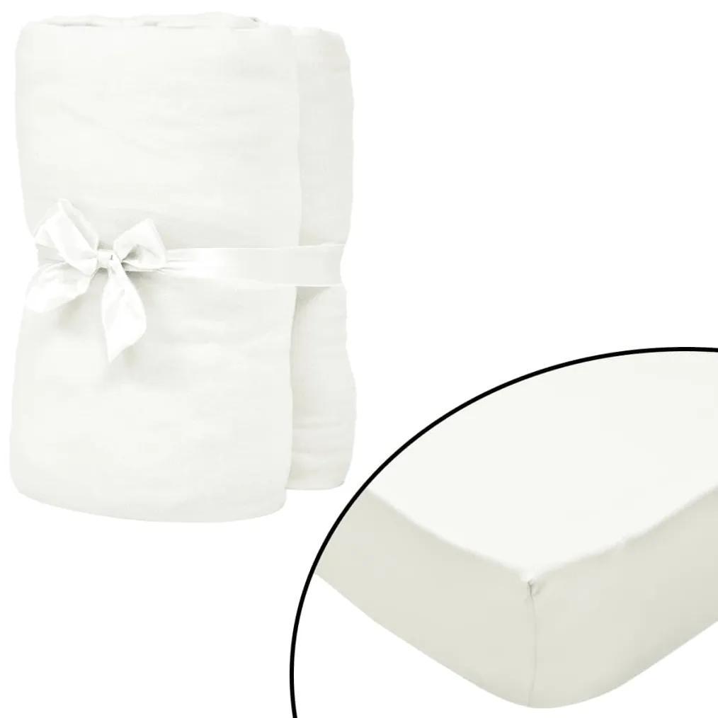vidaXL Prestieradlá pre vodnú posteľ 2 ks 1,6x2 m bavlna šedo-biele