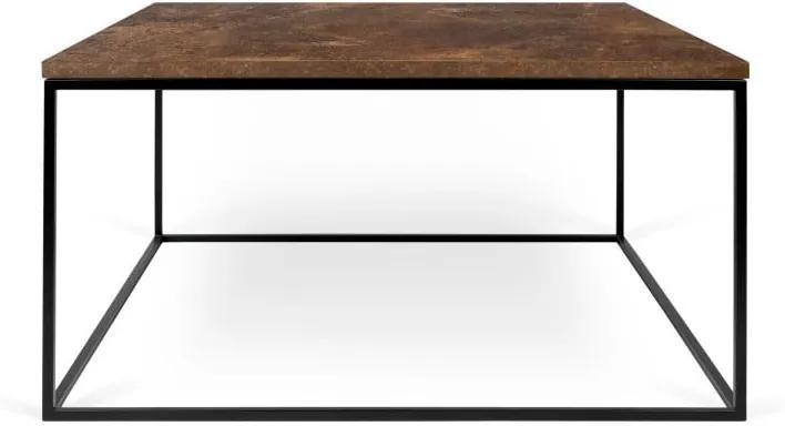 Hnedý konferenčný stolík s čiernymi nohami TemaHome Gleam, 75 cm