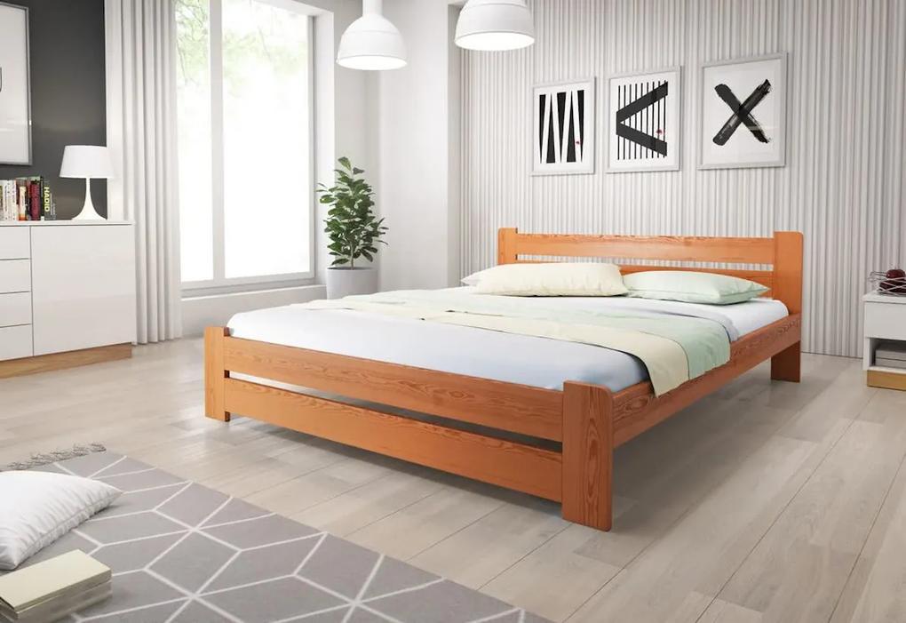 Posteľ HEUREKA + matrac + rošt, 140x200 cm, jelša-lak
