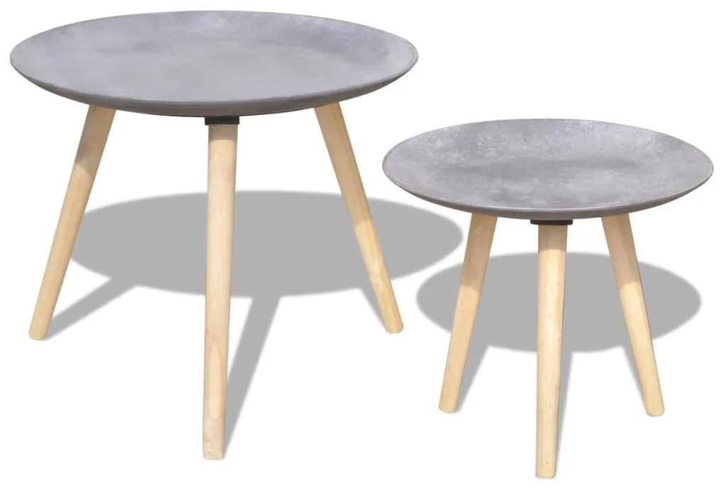 vidaXL Príručný/konferenčný stolík, dvojdielna súprava, 55 cm a 44 cm, šedá, betónový vzhľad