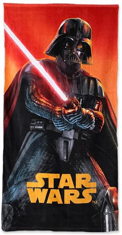 Setino · Plážová osuška Star Wars - Hviezdne vojny - Darth Vader so svetelným mečom - 70 x 140 cm