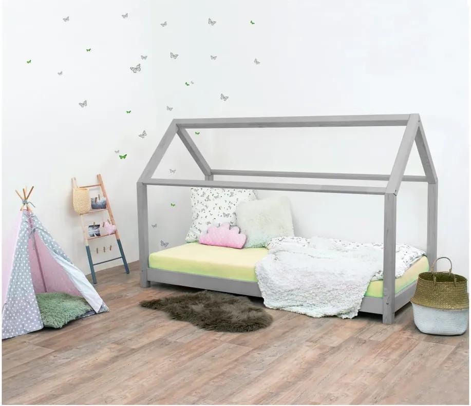 Sivá detská posteľ bez bočníc zo smrekového dreva Benlemi Tery, 120 × 200 cm