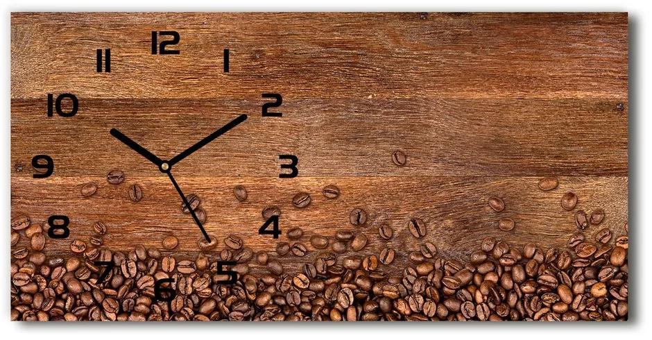 Moderné sklenené hodiny na stenu Zrnká kávy pl_zsp_60x30_f_104485723