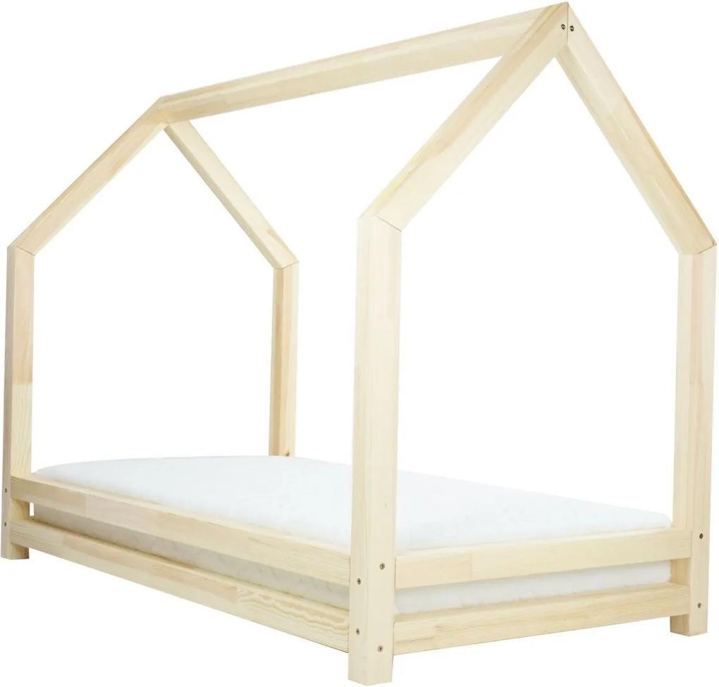 MAXMAX Detská dizajnová posteľ z masívu 160x90 cm DOMČEK 3 bez šuplíku 160x90 NIE