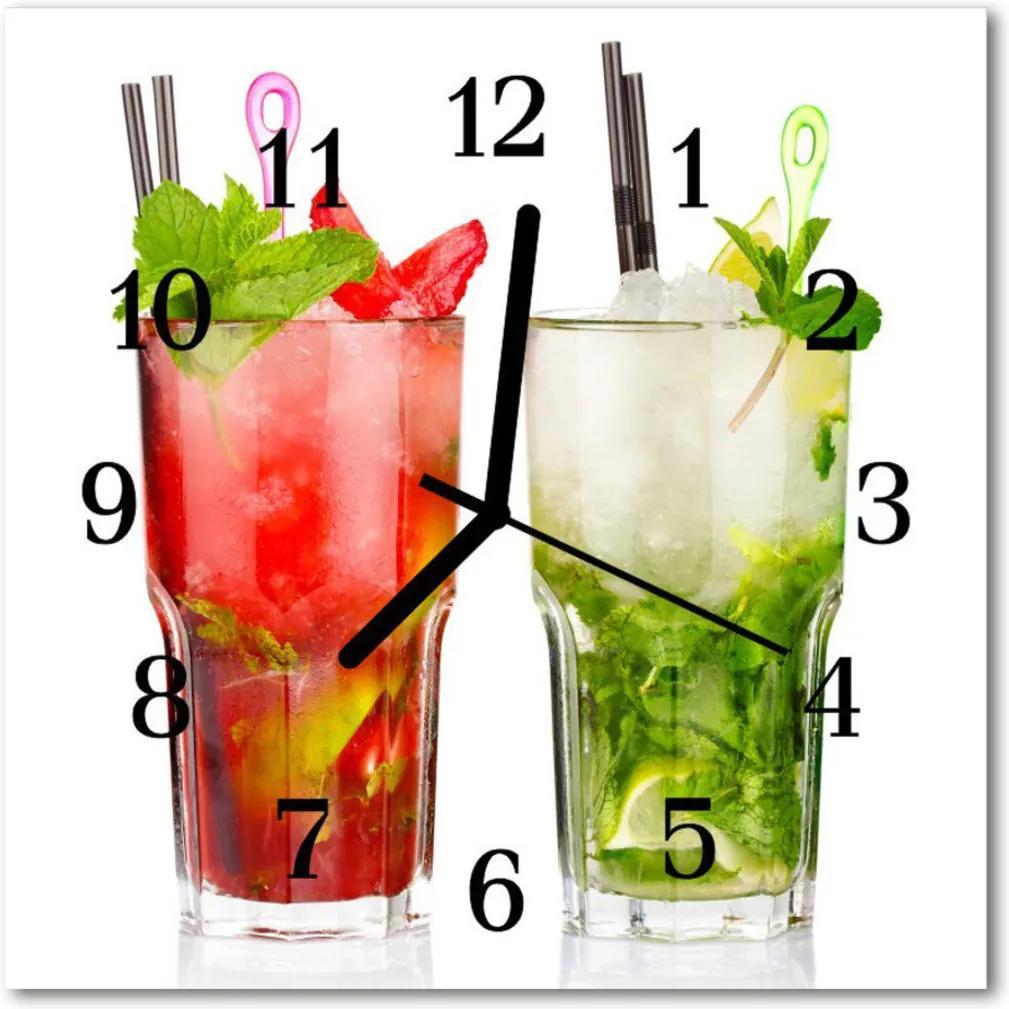 Nástenné skleněné hodiny koktejly