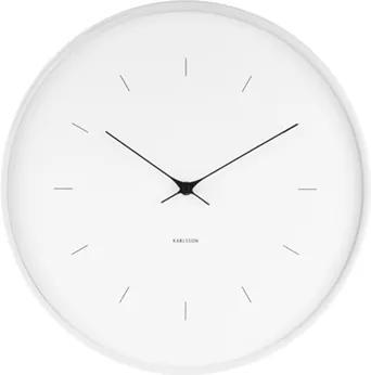 Karlsson Biele nástenné hodiny - Karlsson Butterfly Hands, OE 37,5 cm