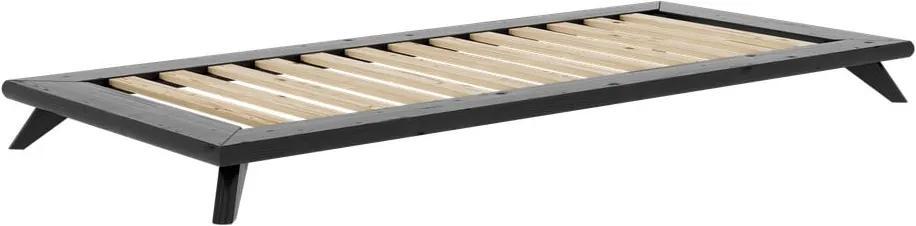 Čierna jednolôžková posteľ z masívneho borovicového dreva Karup Design Senza, 90 x 200 cm