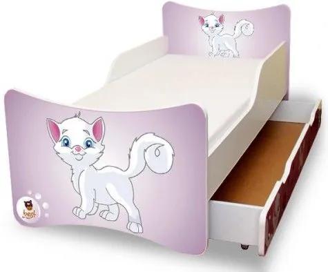 MAXMAX Detská posteľ 160x90 cm so zásuvkou - MAČIATKO 160x90 pre dievča ÁNO