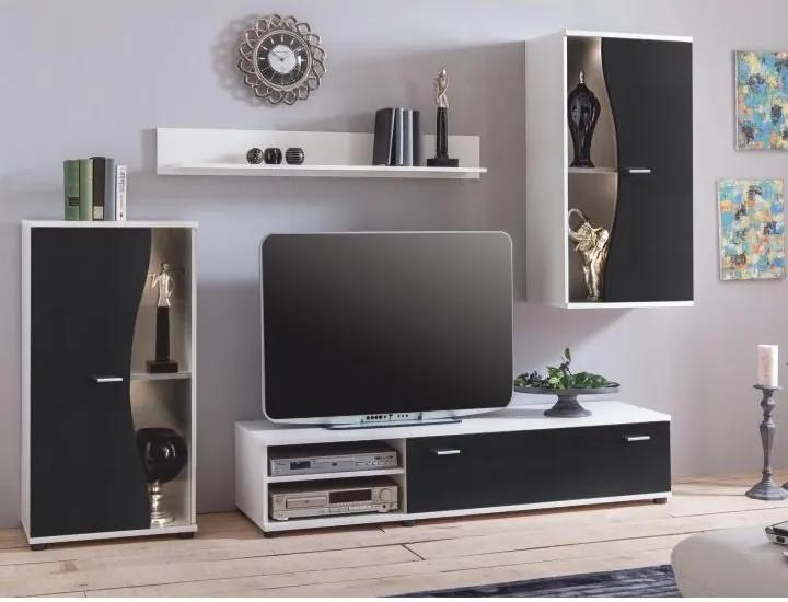 TEMPO KONDELA Rupor New obývacia stena biela / čierna