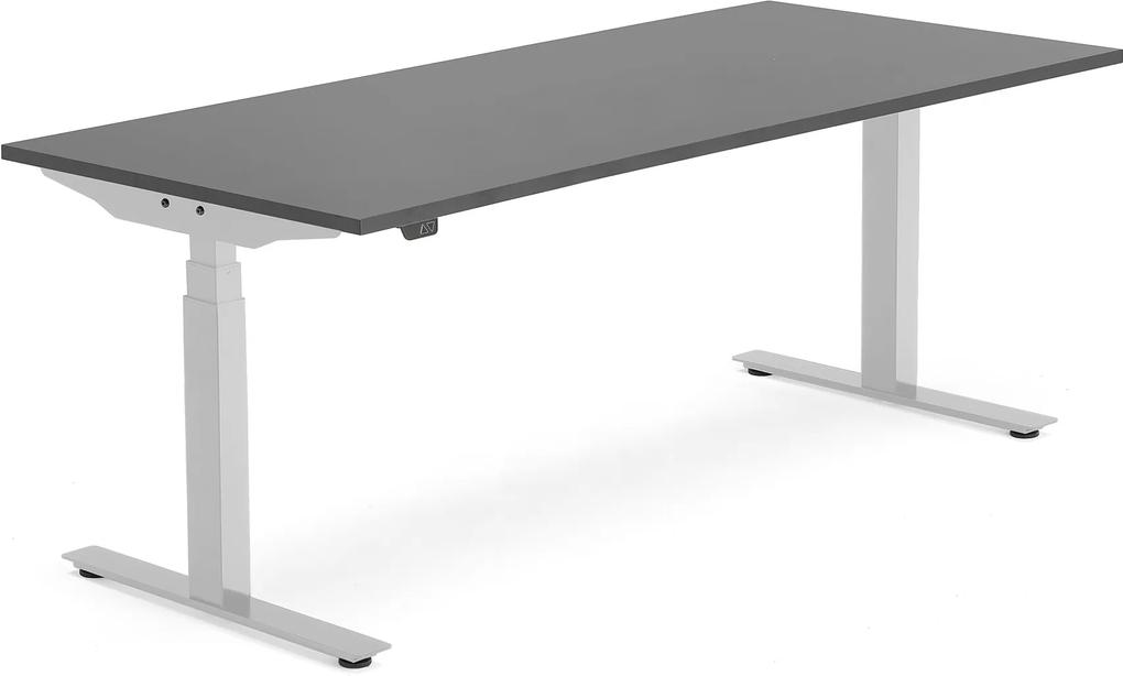 Výškovo nastaviteľný stôl Modulus Smart, 1800x800 mm, strieborná, čierna