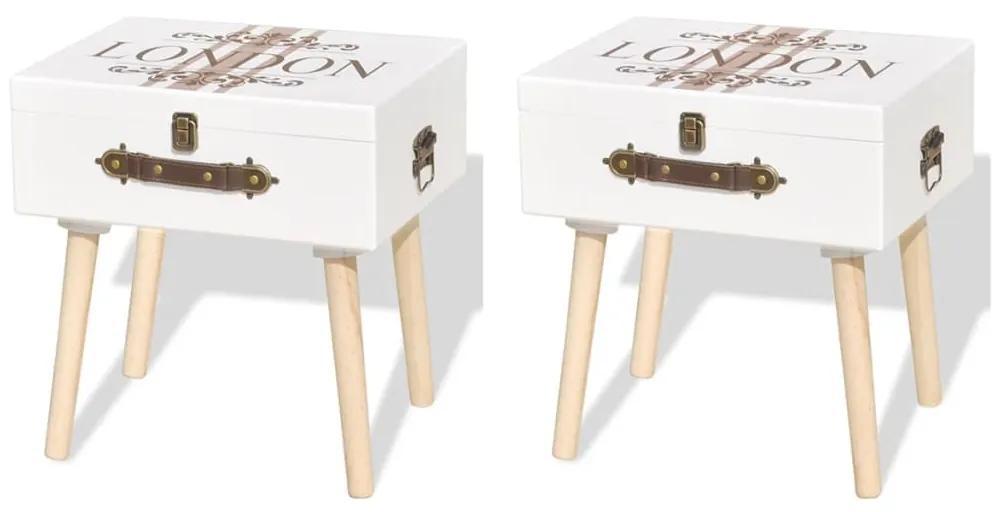 vidaXL Nočné stolíky 2 ks biele 40x30x41,5 cm
