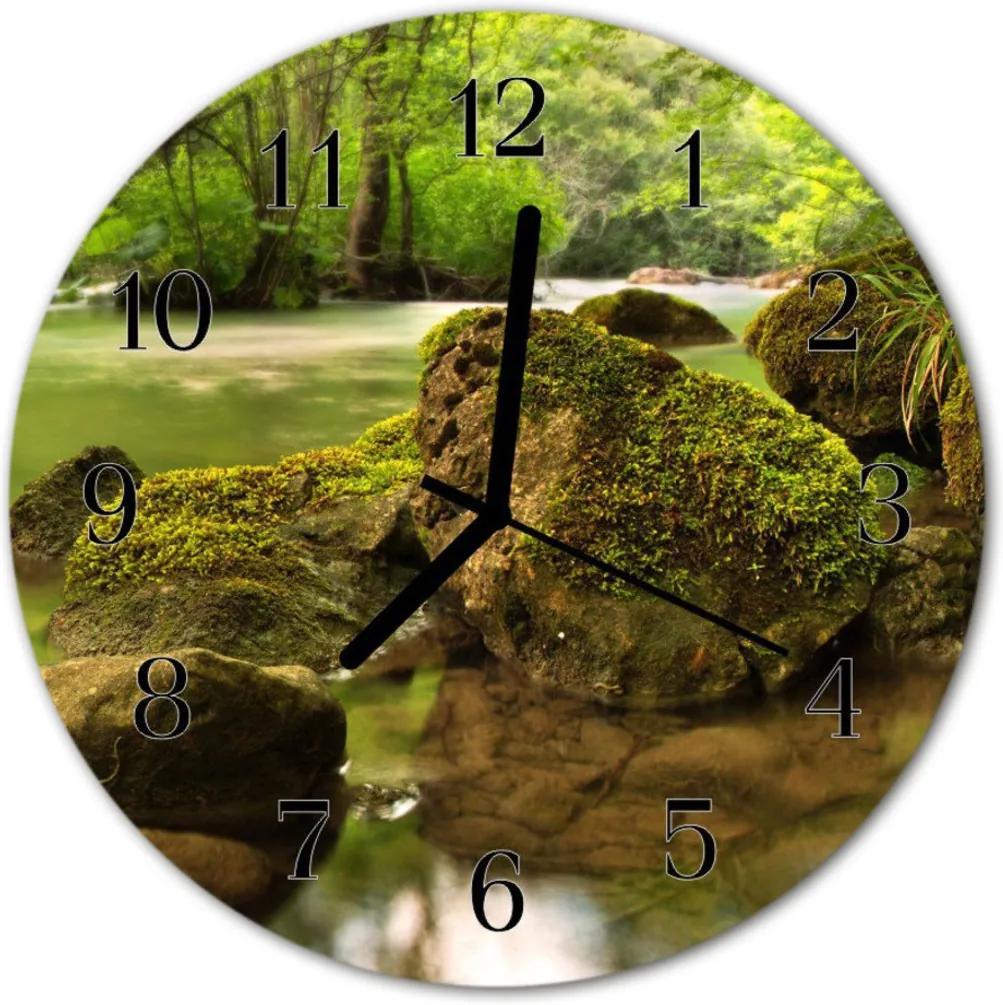 Skleněné hodiny kulaté řeka
