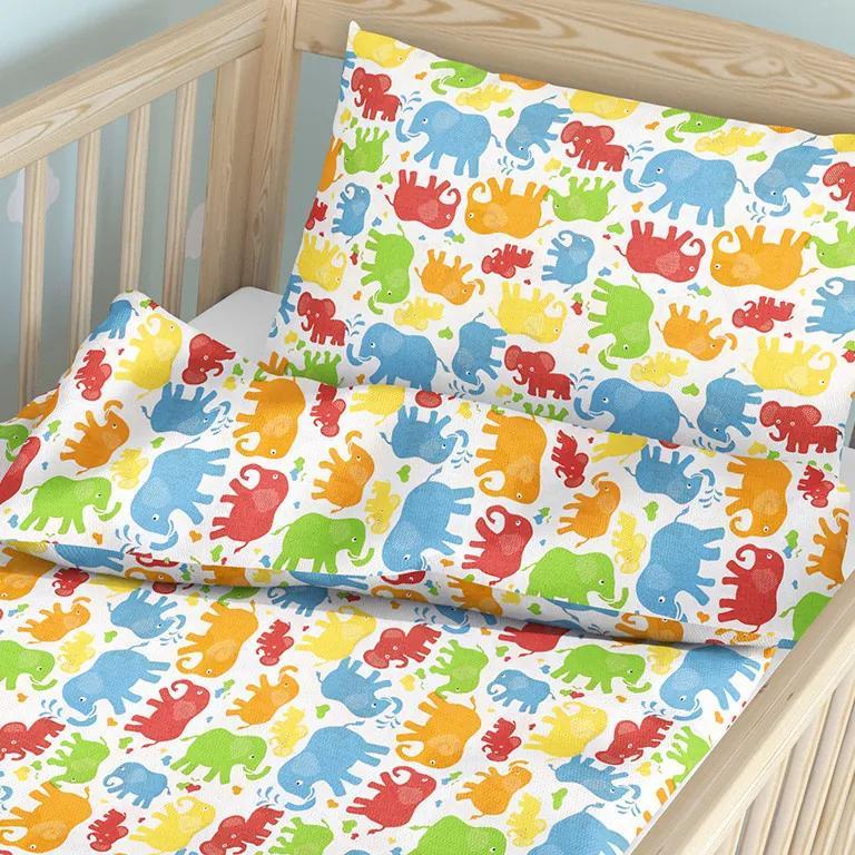 Goldea detské bavlnené obliečky do postieľky - vzor 655 farební slonici 90 x 120 a 40 x 60 cm