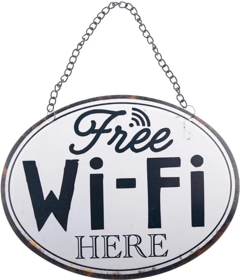 Plechová tabuľka  free wifi here