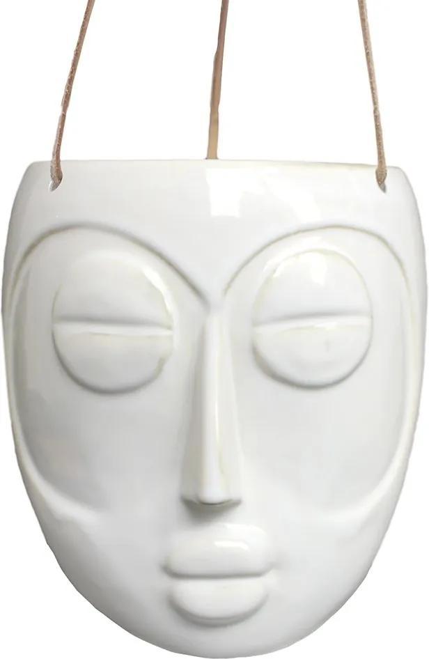 PRESENT TIME Sada 3 ks Biely závesný kvetináč Mask