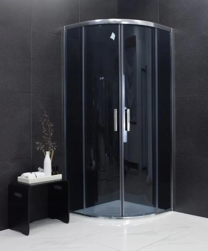 MEXEN RIO - Štvrťkruhový sprchovací kút 80x80 cm, šedá, 863-080-080-01-40
