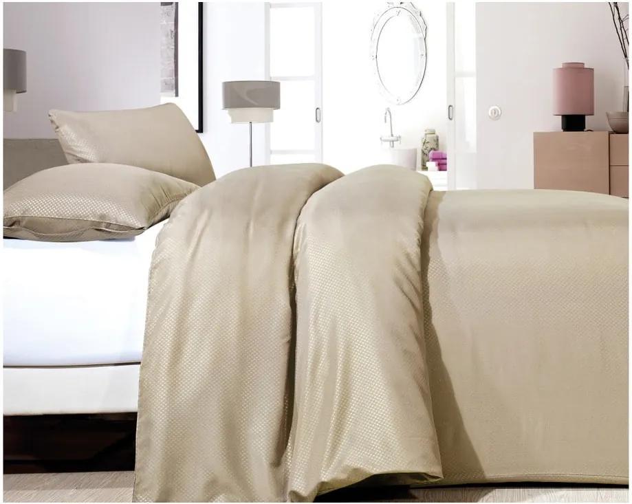 Béžové obliečky z mikroperkálu na jednolôžko Sleeptime Satin One, 140 × 200 cm