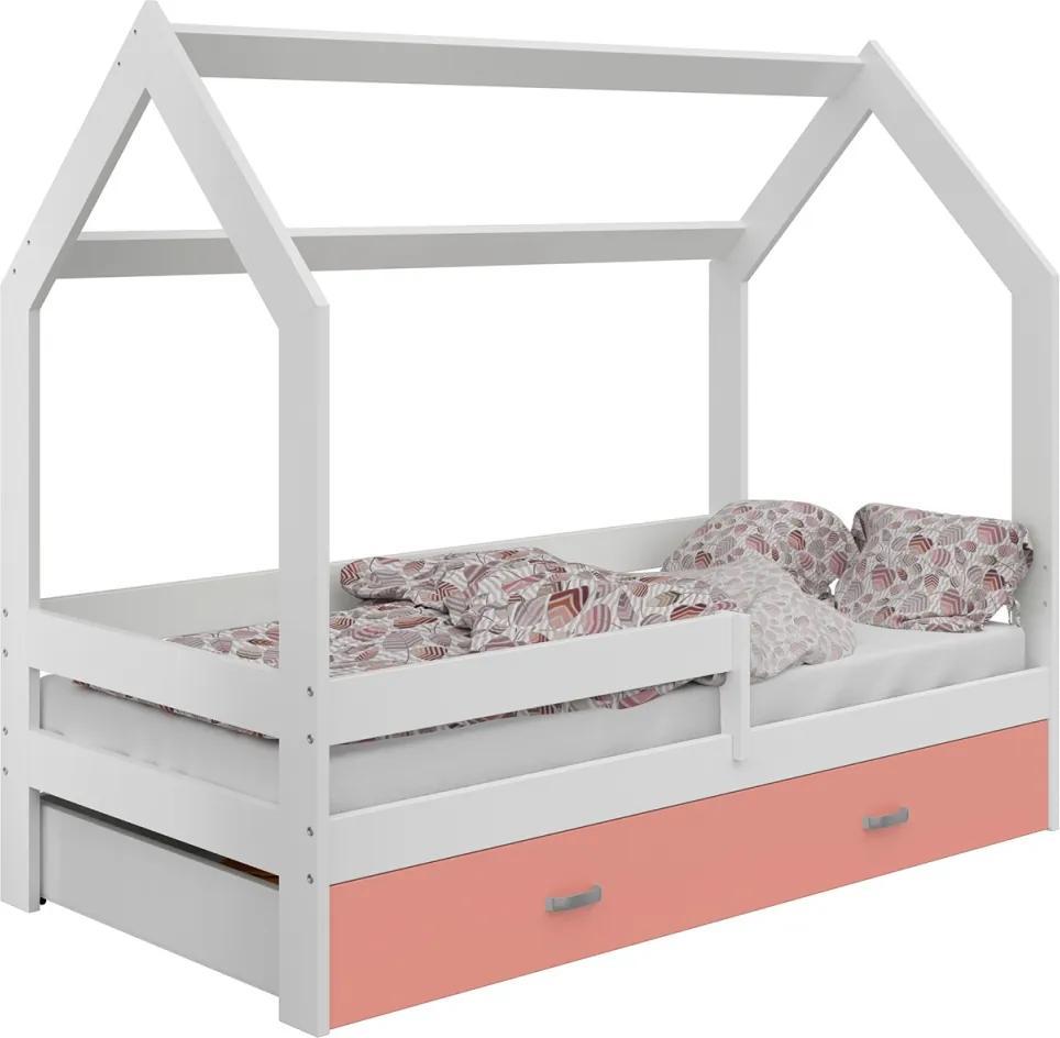 AMI nábytok Dětská postel DOMČEK D3 80x160cm masiv bílá