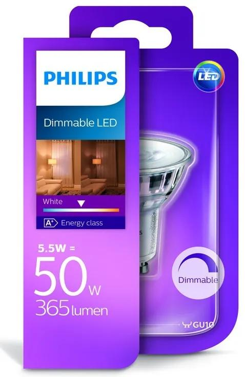 Philips 10138D/50/31 LED žiarovka 1x5,5W | GU10 | 3000K