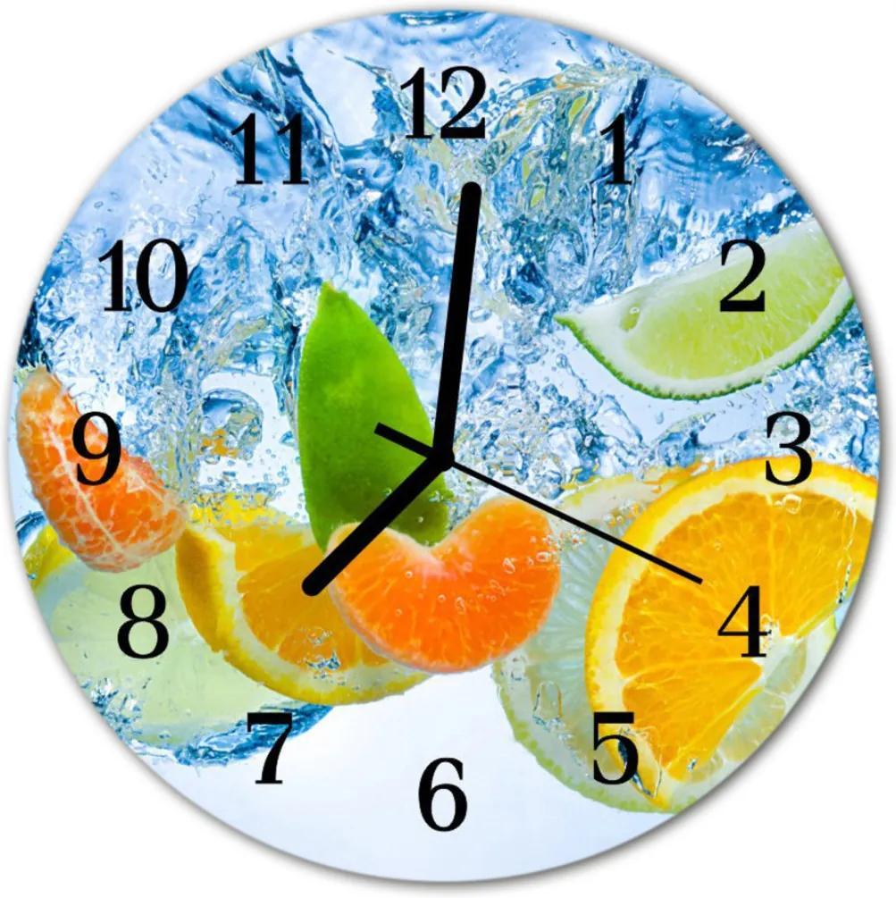 Nástenné skleněné hodiny citrus