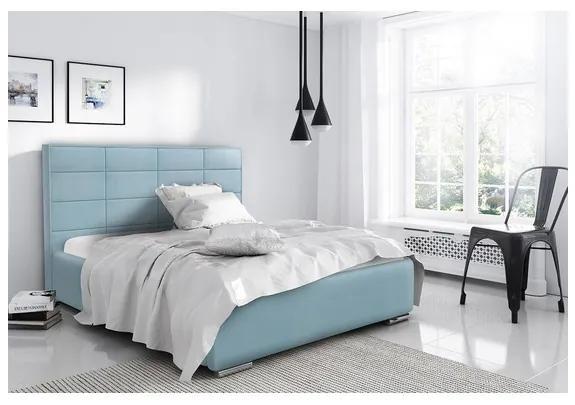 Elegantná manželská posteľ Caffara 120x200, modrá, jemná poťahová látka