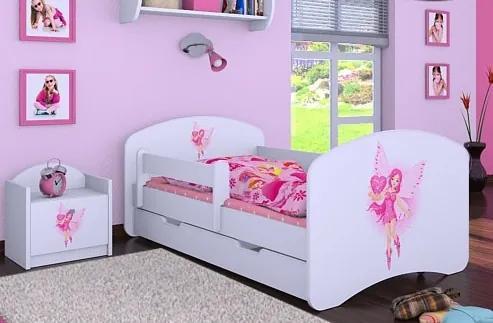 MAXMAX Detská posteľ so zásuvkou 180x90cm VÍLA A SRDIEČKO