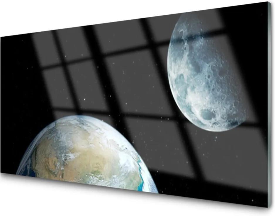 Akrylové obraz Měsíc země vesmír
