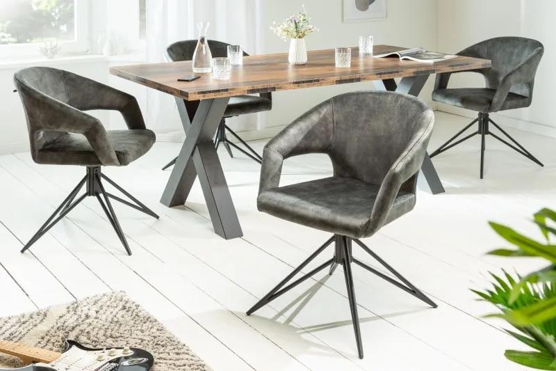 Otočná stolička Eternity šedo-zelený zamat