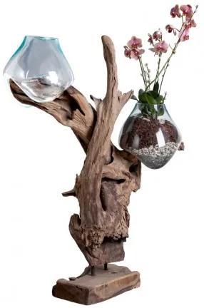Váza na samorostu SAN MARINO kapka ,dřevo a 2 x sklo House Nordic 4501053