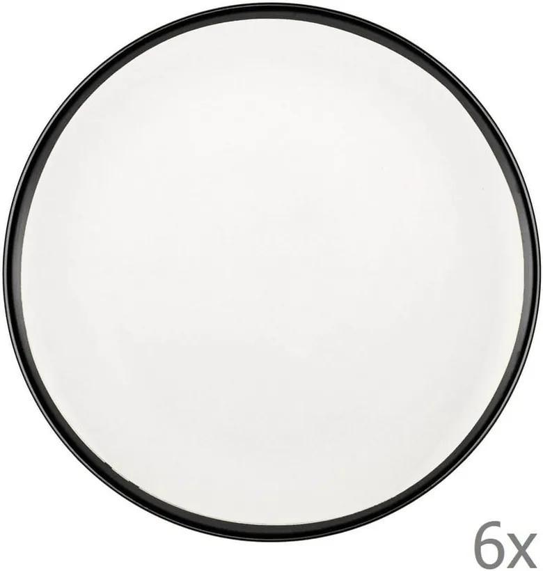Sada 6 bielych porcelánových dezertných tanierov Mia Halos Black, ⌀ 19 cm
