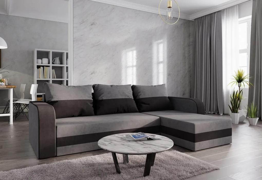Rohová rozkladacia sedačka HEWLET, 232x85x144, sivá/čierna, mikrofáza10/04