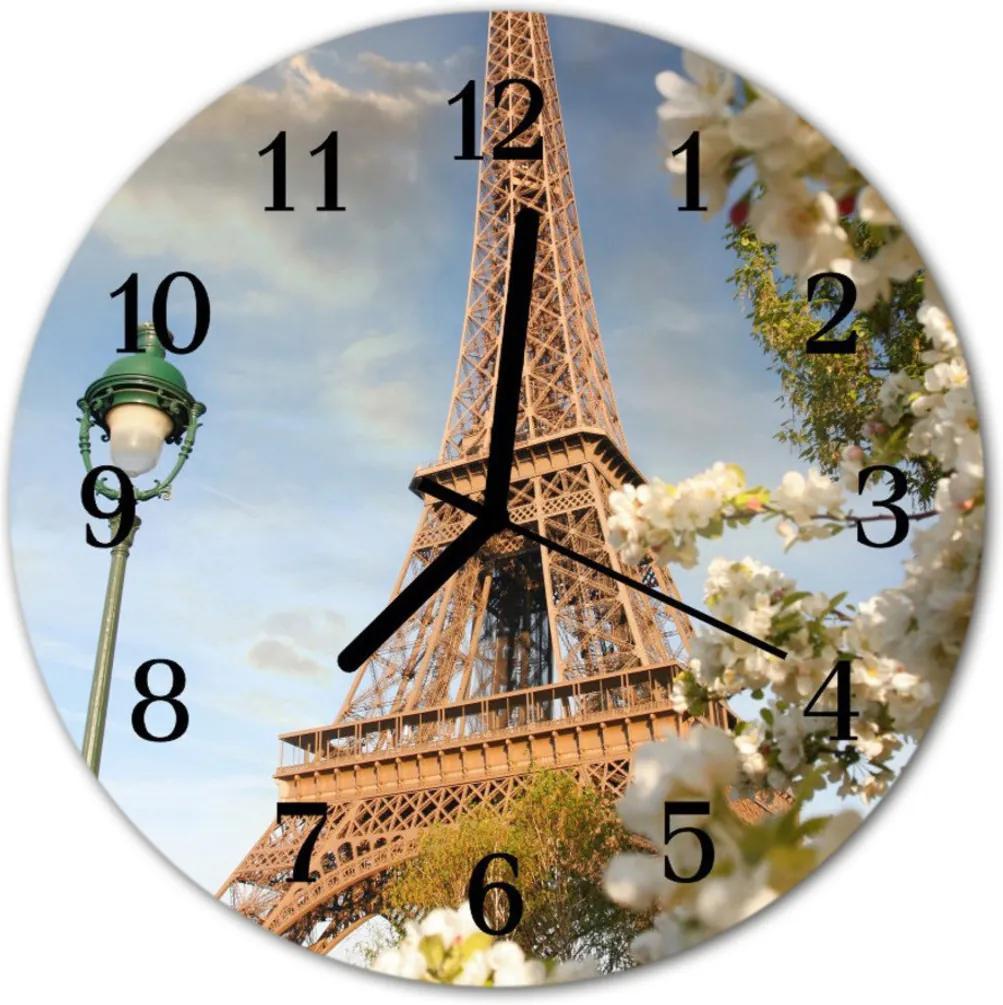Skleněné hodiny kulaté Eiffelova věž v Paříži