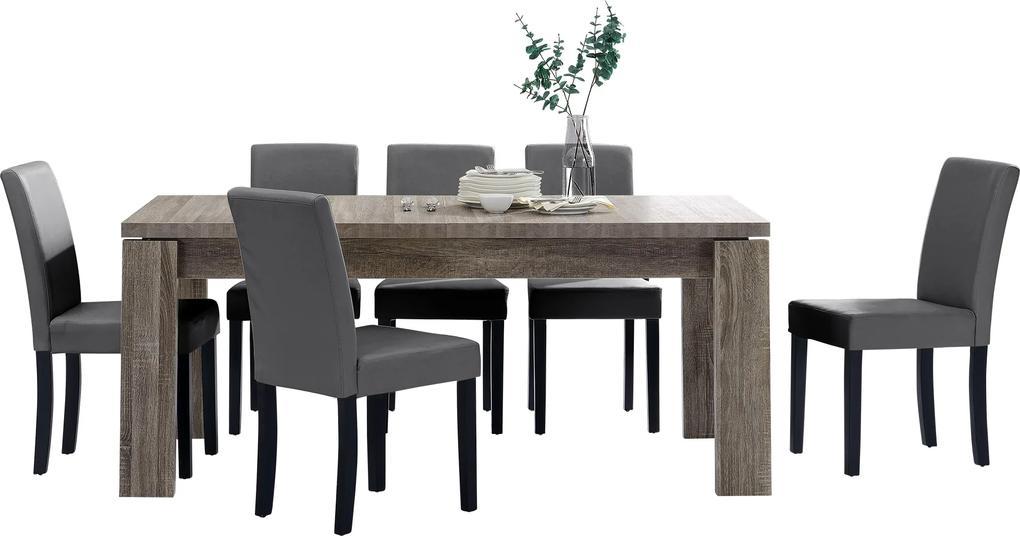 b986bbeb32ae  en.casa ® Rustikálny dubový jedálenský stôl HTFU-2334 so 6 stoličkami ...