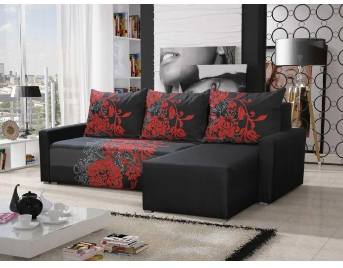 Rohová sedacia súprava s opierkami a vzormi KRISTIAN BIS, čierna + červená